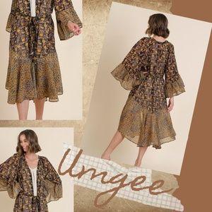 Umgee Mixed Print Bell Sleeves & Tie Front Kimono